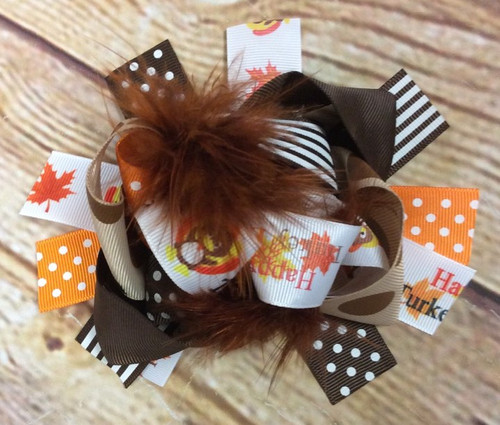 Thanksgiving Stacked Boutique Hair Bow, Turkey Day Hair Bow, Thanksgiving Hair Accessories