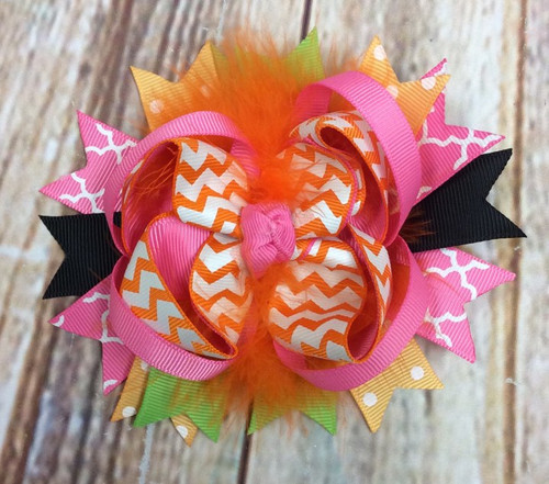 Halloween Chevron Stacked Boutique Hair Bow, Halloween Hair Bow, Halloween Hairbow