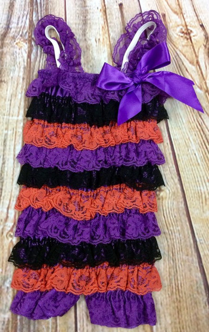 Halloween Colored Lace Pettirompers, Baby Rompers, Petti Romper, Candy Corn, Witch Outfit, Baby Girl Halloween Outfit