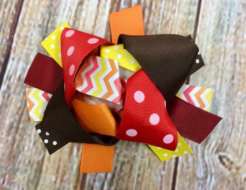 Thanksgiving Stacked Boutique Bow, Thanksgiving Hairbow, Thanksgiving Bow, Thanksgiving Hair Bow