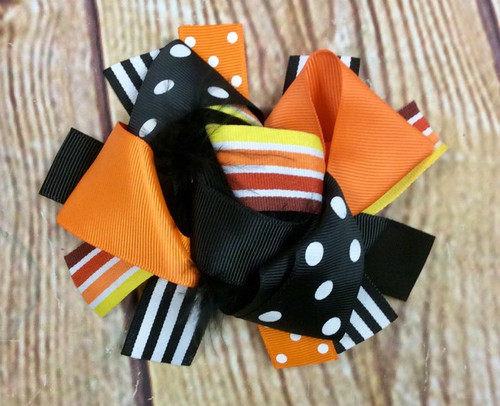 Thanksgiving Stacked Boutique Hair Bow, Thanksgiving Hairbow, Thanksgiving Hair Bow, Boutique Hair Bow