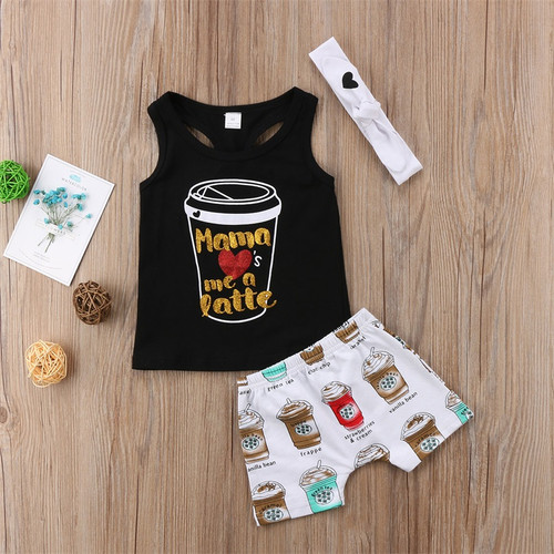 Girl's Mama Loves Me A Latte 3 Piece Boutique Outfit
