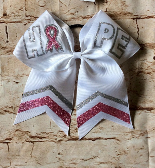 Breast Cancer Awareness Cheer Bow, Breast Cancer Awareness Bow, Cheerleading Hair Bow