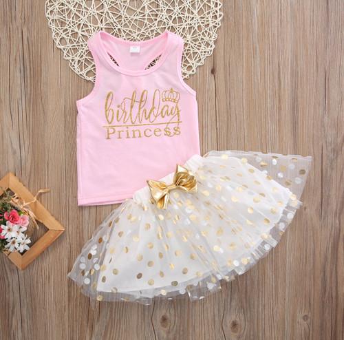 Girl's Birthday Princess Tank Top and Tutu Outfit, Girl's Birthday Outfit, Birthday Princess Outfit