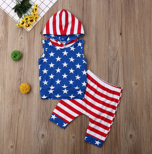 Boys Patriotic Fourth of July Hooded 2 Piece Set, Boy's Fourth of July Outfit