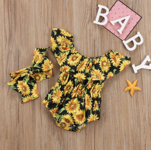 Baby Girl's Sunflower Romper with Headband