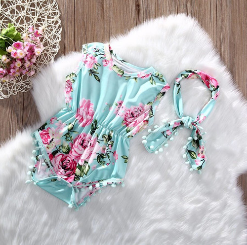Girl's Mint Floral Romper with Headband, Baby Rompers, Girl's Rompers, Baby Bodysuit