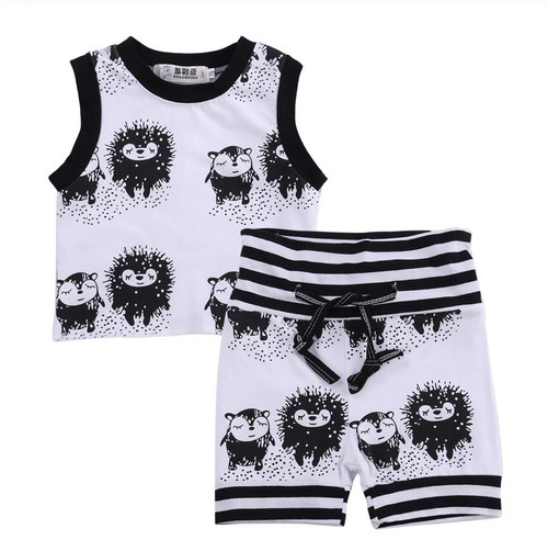 Baby Boy's 2 Pc Porcupine Hedgehog Print Short and Tank Outfit, Baby Boy Summer Clothes