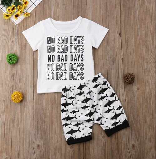Boy's No Bad Days Shark Short Outfit