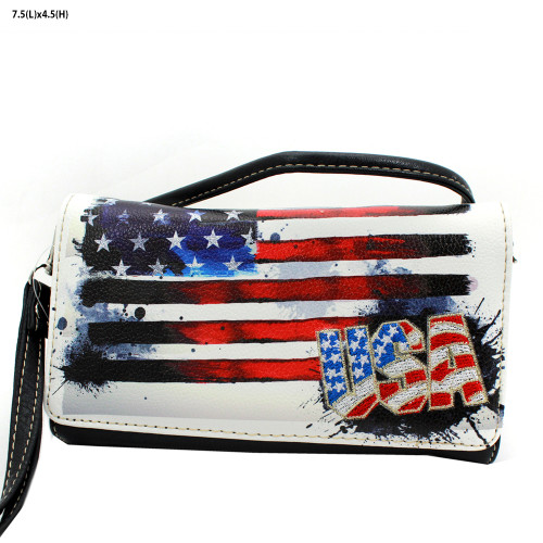 Women's USA Flag Patriotic Crossbody Wristlet Wallet