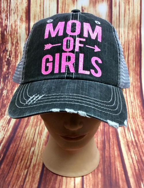 Women's Mom of Girls Baseball Cap Hat, Girl Mom Hat