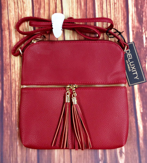 Women's Burgundy Red Tassle Crossbody Purse