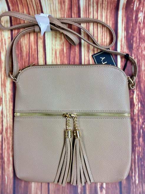 Women's Taupe Tassle Crossbody Purse