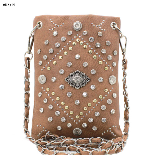 Brown Rhinestone Hipster Small Crossbody Bag Purse