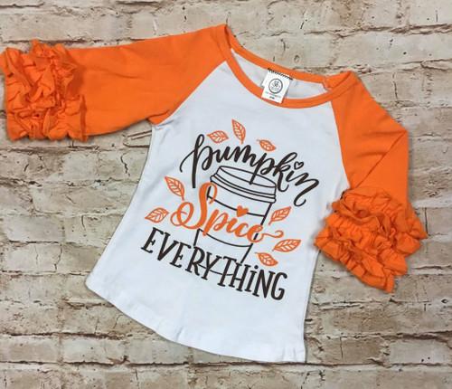Girl's Fall Pumpkin Spice Everything Raglan Tee