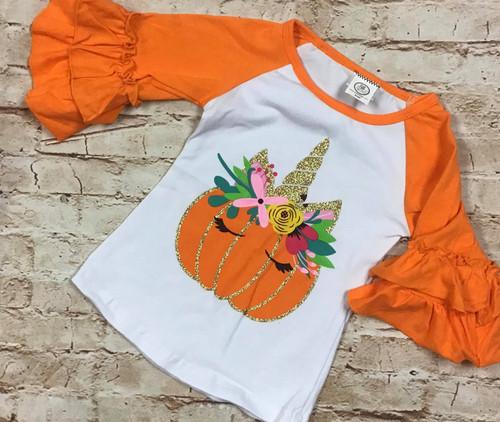 Girl's Fall Pumpkin Unicorn Raglan Tee