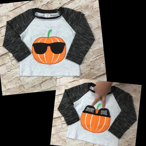 Boy's Spooky Cool Halloween Pumpkin Raglan Tee Shirt