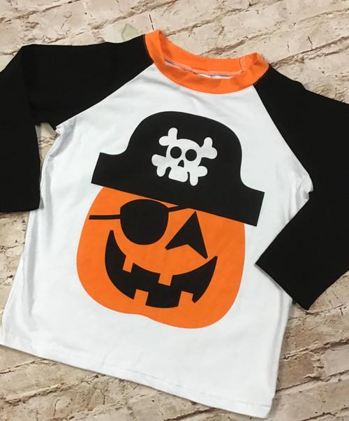 Boy's Halloween Pirate Pumpkin Raglan Tee Shirt