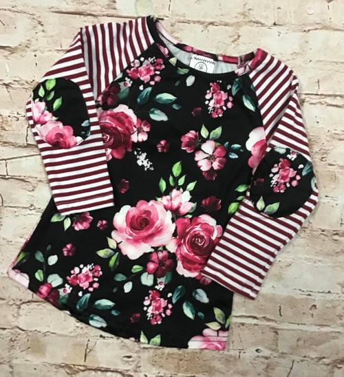Girl's Maroon Floral Striped Raglan Shirt