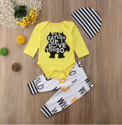 Boy's Where The Wild Things Are I'll Eat You Up I Love You So 3 Piece Outfit