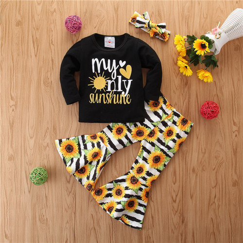 Girl's My Only Sunshine Sunflower 3 Piece Outfit