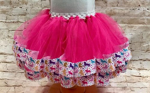 Girl's 12 Mos Hot Pink Unicorn Ribbon Trimmed Tutu