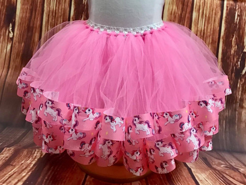 Girl's 2T Pink Unicorn Ribbon Trimmed Tutu