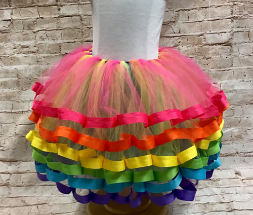 Girl's 5T Bright Rainbow Six Layer Ribbon Trimmed Tutu