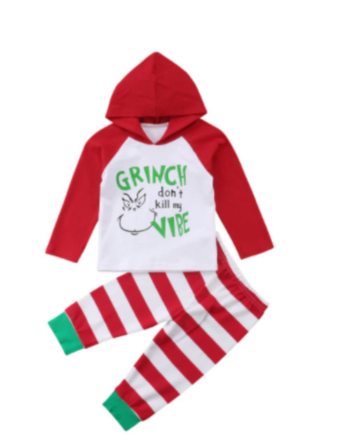 Infant Boy's Grinch Don't Kill My Vibe Hooded 2 Piece Christmas Outfit
