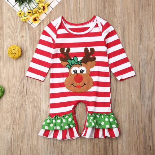 Infant Girl's Striped Reindeer Christmas Romper