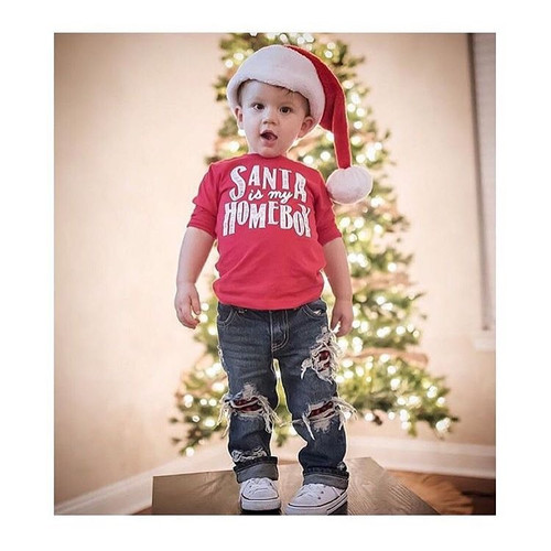 Boy's Santa is My Homeboy Christmas Tee Shirt