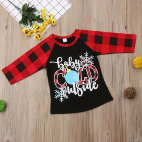 Girl's Baby Its Cold Outside Buffalo Plaid Raglan Tee Shirt