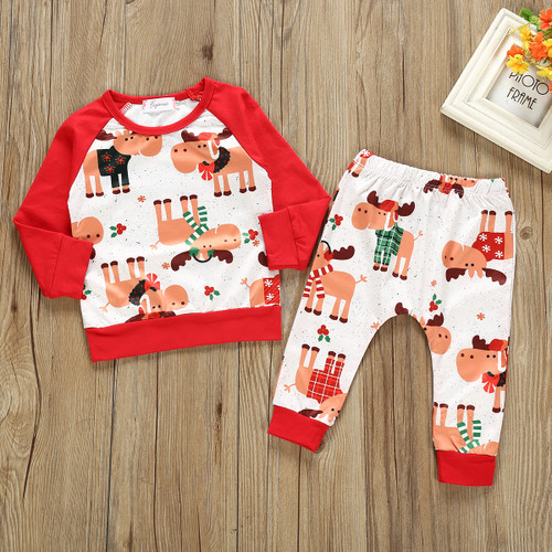 Boy's Reindeer Moose Christmas 2 Piece Sweat Suit Outfit
