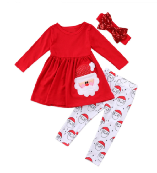 Girl's Christmas 3 Piece Santa Outfit