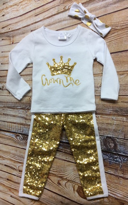 Girl's 2T White and Gold Crown Me Boutique Outfit Outfit, Girl's Boutique Outfit, Crown Me, Toddler Boutique Outfit, Pageant Outfit