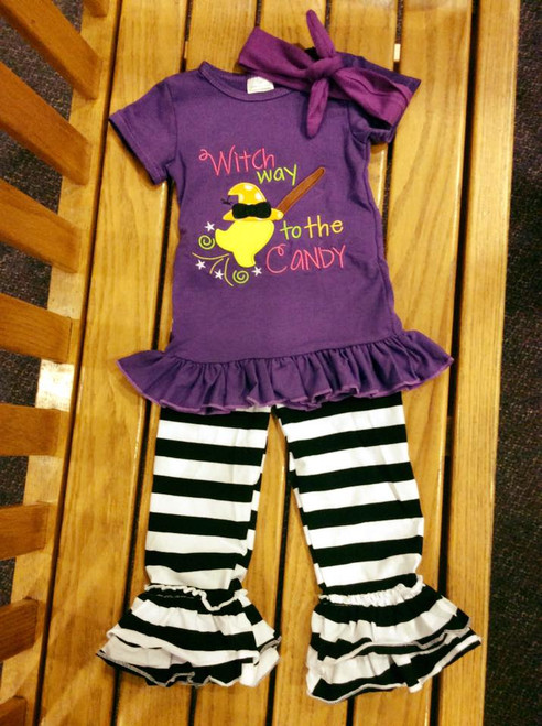 Girl's Witch way to the Candy Halloween Boutique Outfit