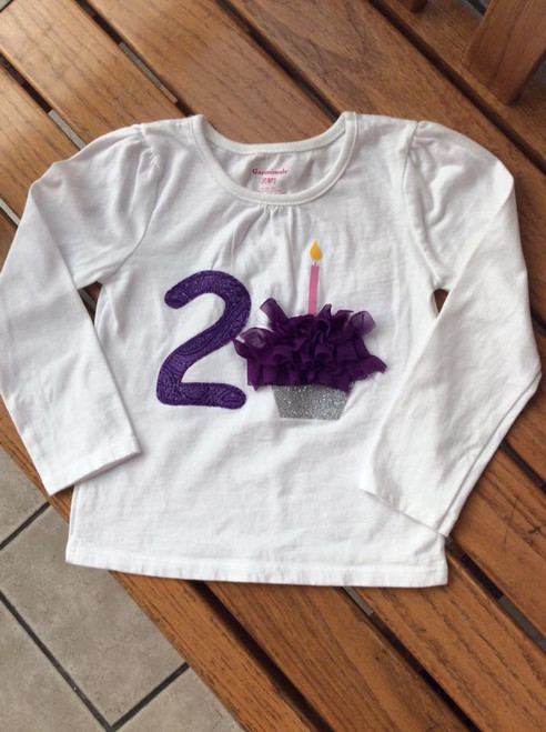 Girl's Two with Cupcake Long Sleeved Second Birthday Shirt, Girl's Birthday Shirt, Second Birthday, Cupcake Shirt,  Birthday Girl Shirt
