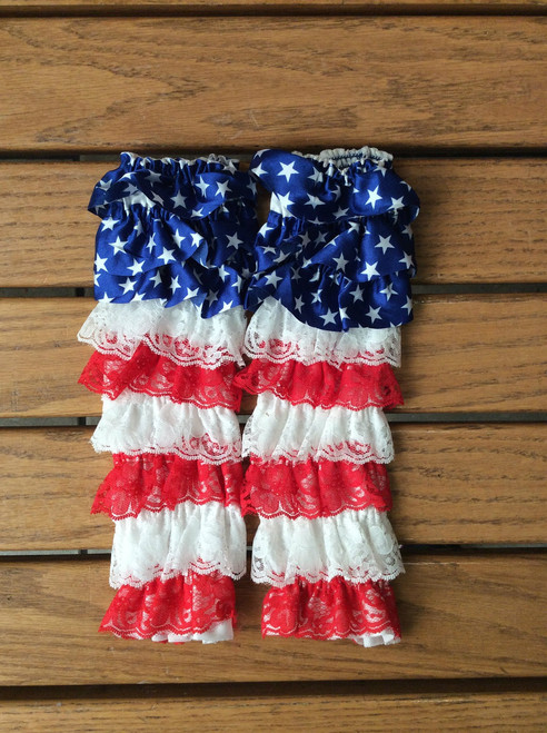 Girl's Patriotic Lace and Satin Fourth of July Leg Warmers, Girl's Leg Warmers, Fourth of July, Toddler Leg Warmers, Satin Leg Warmers