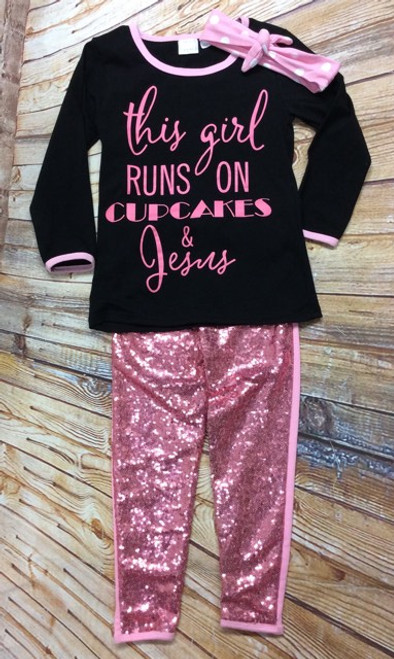 Girl's This Girl Runs on Cupcakes and Jesus Boutique Outfit, Girl's Boutique Outfit, Girl's Jesus Outfit, Girl's Church Outfit,  Christian Clothing, Religious Clothing