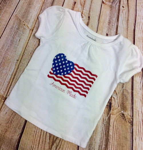 Girl's Patriotic American Made Fourth of  July Tee Shirt, 4th of July Shirt, Fourth of July Shirt, Girl's Clothing, American Made, Independence Day Shirt