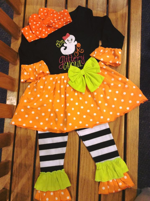 Toddler Girl's Im a Glittery Ghoul Halloween Boutique Outfit, Halloween Outfit, Girl's Outfit, Girl's Boutique Clothing, Girl's Halloween Outfit