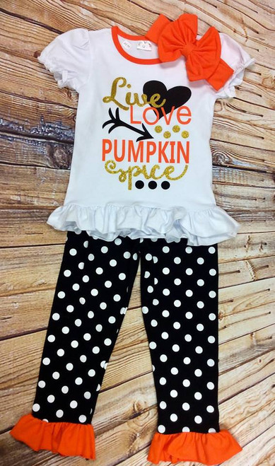 Girl's Fall Live Love Pumpkin Spice Boutique Outfit, Pumpkin Spice, Girl's Clothing, Girl's Boutique Clothing, Girl's Fall Clothing, Toddler Fall Outfit, Thanksgiving Outfit