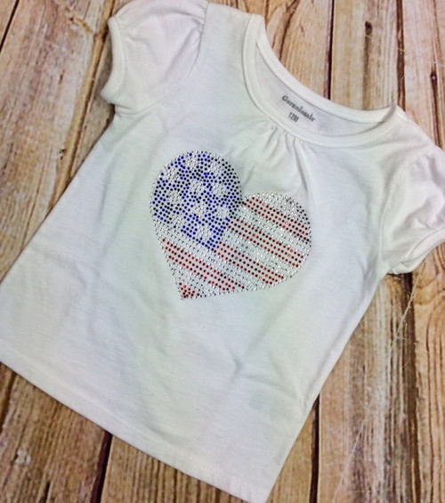 Girl's Patriotic Rhinestone  Heart Fourth of July Tee Shirt, Girl's Shirt, Fourth of July Shirt, Patriotic Shirt, Toddler Shirt, Independence Day