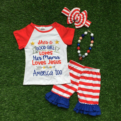 Girl's Boutique Style Patriotic Outfit, Boutique Style Clothing, Girl's Clothing, Toddler Clothing, Fourth of July Outfit, Patriotic Outfit