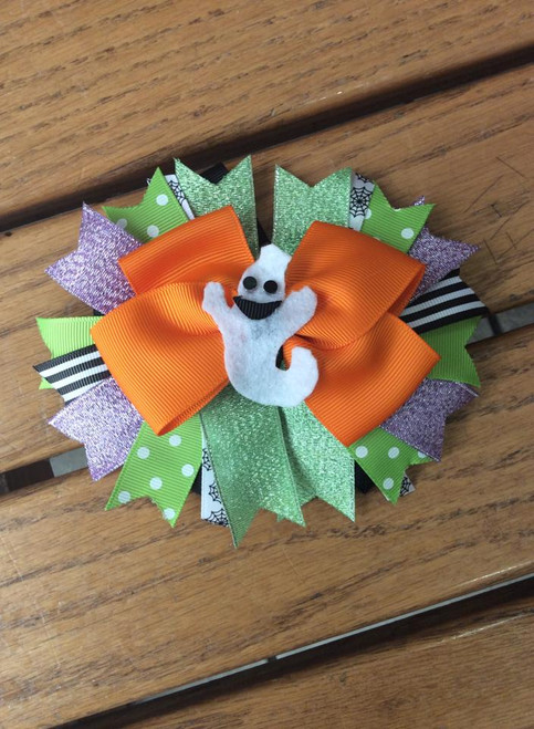 Halloween Ghost Stacked Boutique Bow, Stacked Boutique Bow, Halloween Hair Bow, Hair Bow, Hair Accessories, Hair Ribbons, Ghost Hair Bow