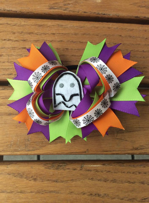 Halloween Ghost Stacked Boutique Bow, Halloween Hair Bow, Hair Bow, Ghost Hair Bow, Hair Accessories, Hair Ribbons