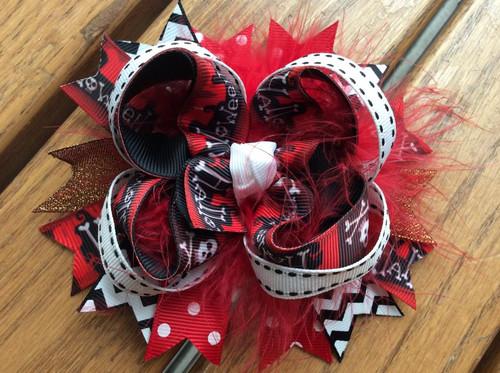 Red Black Skull Crossbones Halloween Hair Bow, Halloween Hair Bow