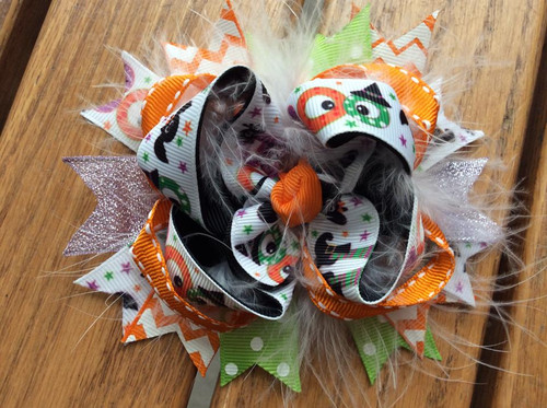 Halloween BOO Boutique Stacked Hair Bow, Hair Bow, Halloween Hair Bow, Stacked Boutique Hair Bow, Hair Ribbons, Hair Accessories