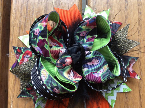 Halloween Disney Princesses Stacked Boutique Hair Bow, Halloween Hair Bow, Hair Ribbons, Hair Accessories, Princess Hair Bow