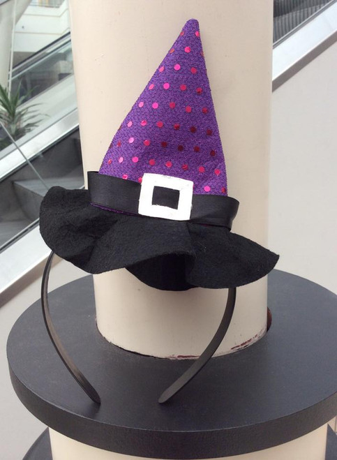 Purple Sequin Witch Hat Headband, Witch Hat, Halloween Headband, Witch Hat on Headband